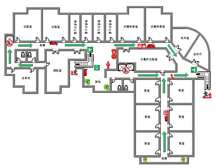 学校消防疏散平面图