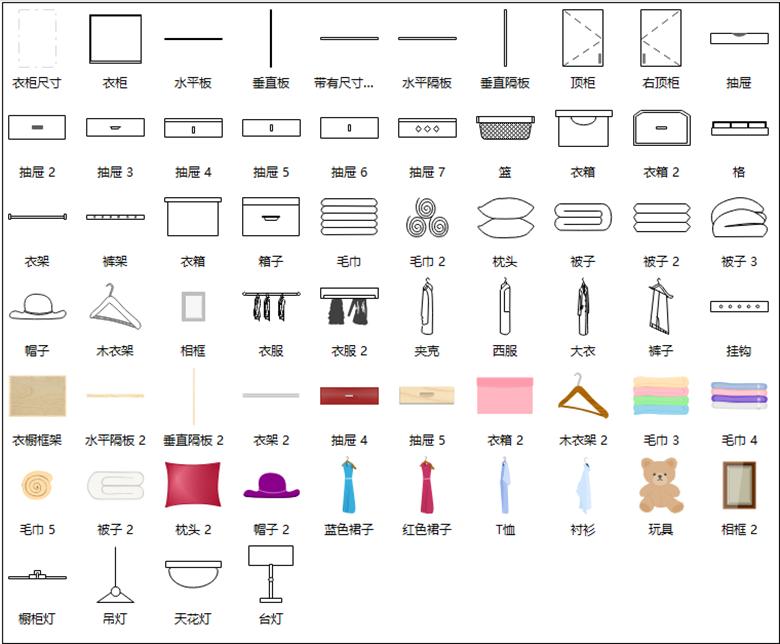 亿图图示衣柜符号
