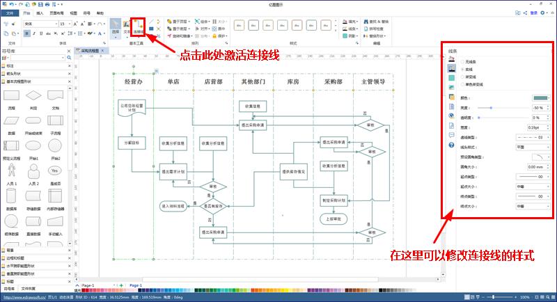采购流程图连接线