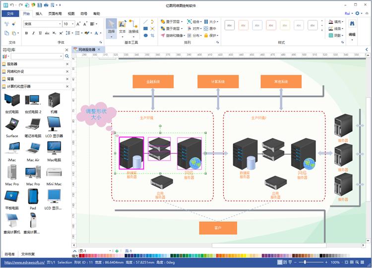 亿图图示设计软件 网络图绘制软件  步骤三: 放大或缩小图形 为了让图