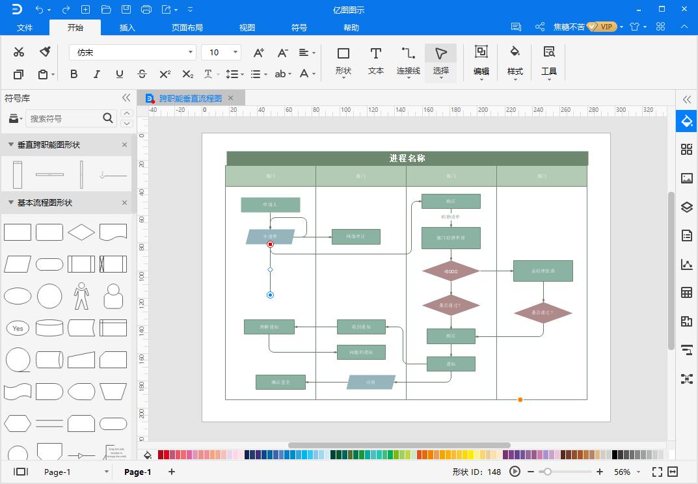 跨职能流程图模板